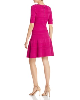 MILLY - Mixed-Knit Fit and Flare Dress