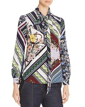 Tory Burch - Printed Silk Tie-Neck Blouse
