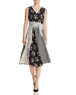 Calvin Klein - Belted Mixed-Print Dress