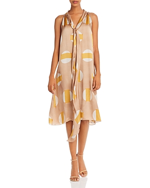 Theory Scarf-Neck Printed Silk Dress