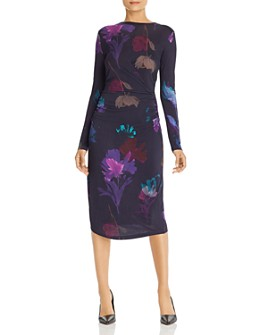 BOSS - Esetta Long-Sleeve Floral-Print Dress
