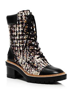 Tory Burch - Women's Miller Bouclé Lace-Up Boots