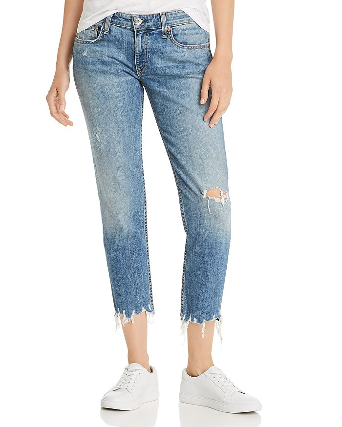 rag & bone - Dre Cropped Slim Boyfriend Jeans in Dobbie with Holes