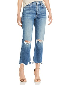 MOTHER - Tripper Crop Fray Flare Jeans in Cryin' Cowboys