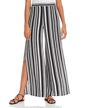 AQUA - Striped Split Wide Leg Pants - 100% Exclusive