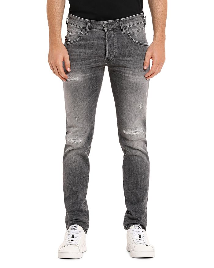 Diesel - D-Bazer Straight Slim Fit Jeans in Gray Denim