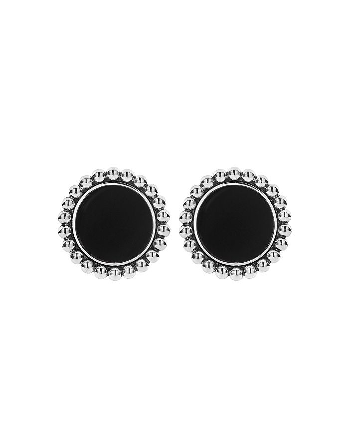 Sterling Silver 14k Yellow Gold Maya Black Onyx Stud Earrings