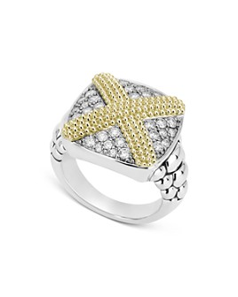 LAGOS - Sterling Silver & 18K Yellow Gold Caviar Lux Diamond Large X Ring