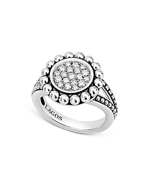 Lagos Sterling Silver Caviar Spark Diamond Ring