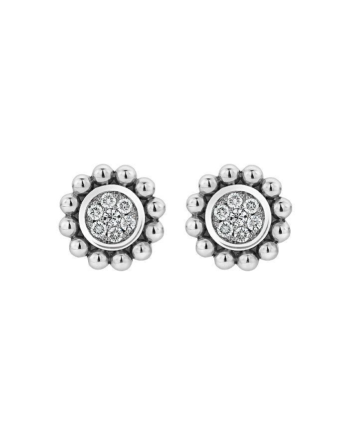 LAGOS - Sterling Silver & 14K Yellow Gold Caviar Spark Diamond Stud Earrings