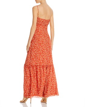 Divine Heritage - Gathered Floral-Print Maxi Dress