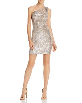 AQUA - Sequined One-Shoulder Cocktail Dress - 100% Exclusive