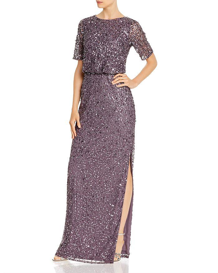 Adrianna Papell - Beaded Floor-Length Gown