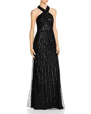 Vintage Dresses Australia- 20s, 30s, 40s, 50s, 60s, 70s Adrianna Papell Beaded Halter Gown AUD 445.93 AT vintagedancer.com