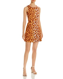 kate spade new york - Sleeveless Leopard-Print Ponte Dress