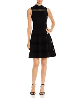 kate spade new york - Sleeveless Mesh-Inset Sweater Dress