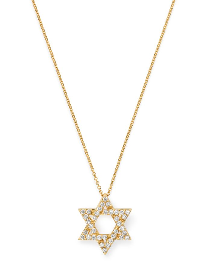 Bloomingdale's Diamond Star of David Pendant Necklace in 14K Yellow Gold, 0.50 ct. t.w. - 100% Exclusive  | Bloomingdale's