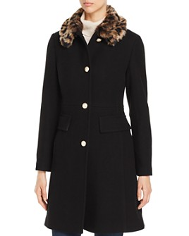 kate spade new york - Cheetah-Print Faux Fur Collar Coat