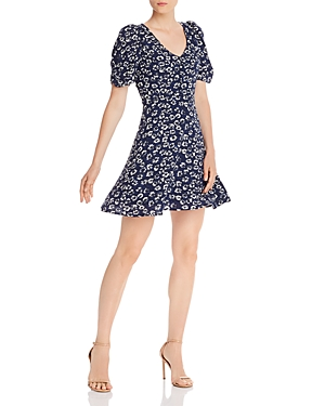 Aqua Floral Puffed-Sleeve Dress - 100% Exclusive-Women