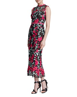 MARCHESA NOTTE - Floral-Embroidered Sheath Gown