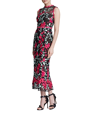 Marchesa Notte Floral-Embroidered Sheath Gown