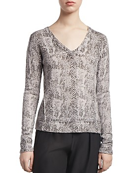 ATM Anthony Thomas Melillo - Snakeskin-Print V-Neck Sweater