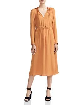 Maje - Rouge Shirred Drawstring Midi Dress