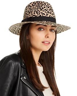 AQUA - Leopard Print Wool Fedora - 100% Exclusive