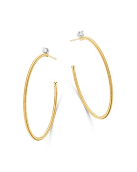 Marco Bicego - 18K Yellow & White Gold Bi49 Diamond Hoop Earrings - 100% Exclusive