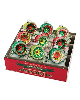 """Christopher Radko - Shiny Brite™ 2.5"""" Decorated Reflector Rounds Ornaments, Box of 9"""