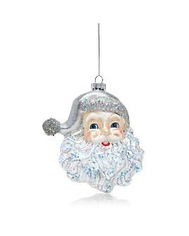 Kurt Adler - Silver Glitter Santa Face Ornament