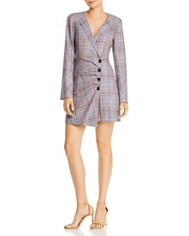 Parker - Derby Asymmetric Plaid Wrap Dress