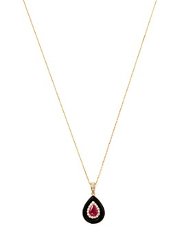 "Bloomingdale's - Ruby, Black Onyx & Diamond Pendant Necklace in 14K Yellow Gold, 18"" - 100% Exclusive"