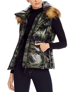 AQUA - Faux Fur-Trim Hooded Camo Puffer Vest - 100% Exclusive
