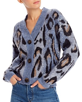 AQUA - Animal Print Cardigan Sweater - 100% Exclusive