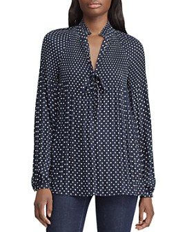 Ralph Lauren - Pleated Dot-Print Top