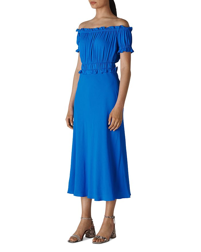 Whistles - Floren Shirred Off-the-Shoulder Bardot Dress