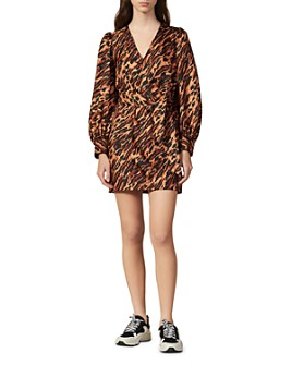 Sandro - Lunas Abstract Leopard-Print Silk Mini Dress