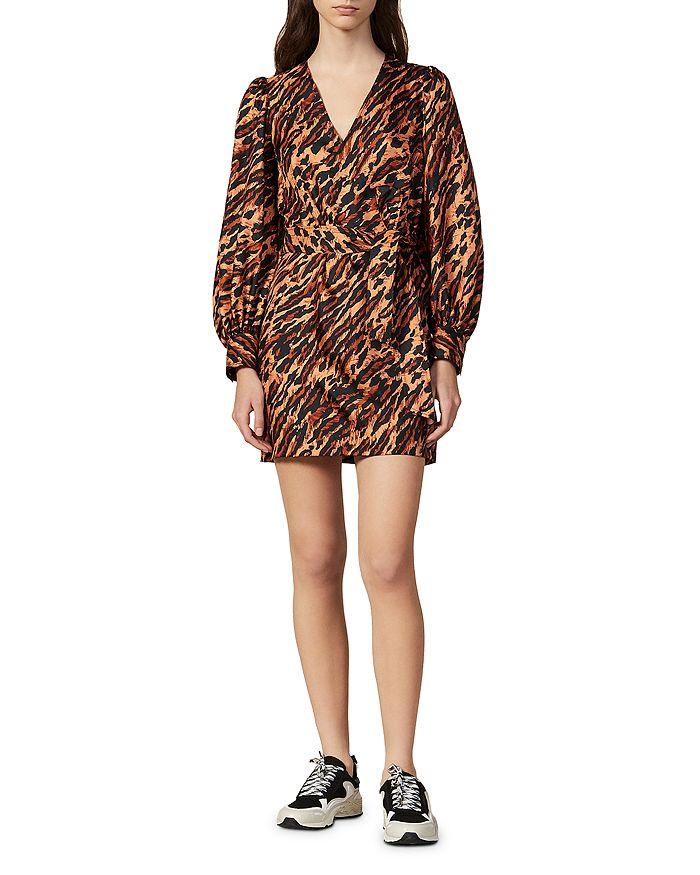 Sandro - Lunas Abstract Leopard-Print Silk Mini Dress
