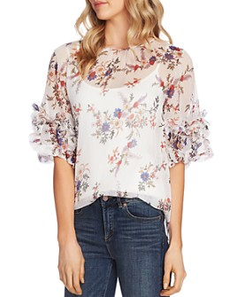 VINCE CAMUTO - Ruffle Sleeve Floral Blouse