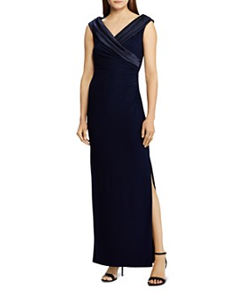 Ralph Lauren - Satin-Trim Jersey Gown