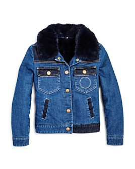 Chloé - Girls' Faux Fur Denim Jacket - Little, Big Kid