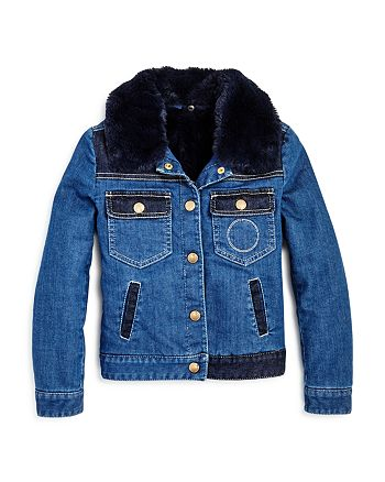 Chloé - Girls' Faux Fur Denim Jacket - Big Kid