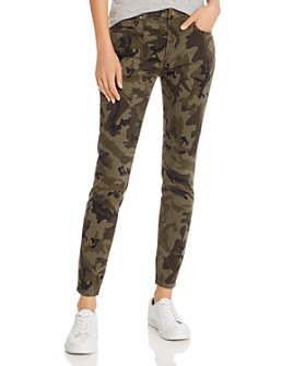 AQUA - Ankle Skinny Jeans in Olive Camo - 100% Exclusive