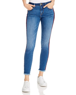 AQUA - Plaid Track Stripe Skinny Jeans in Medium Wash - 100% Exclusive