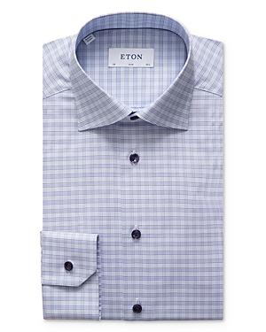 Eton Thin Plaid Slim Fit Dress Shirt
