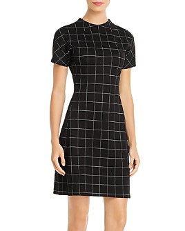 Kenneth Cole - Windowpane-Check Ponte Dress