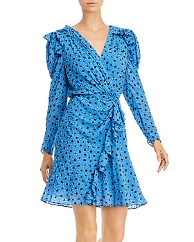 Rebecca Taylor - Ruffled Dot-Print Faux-Wrap Dress