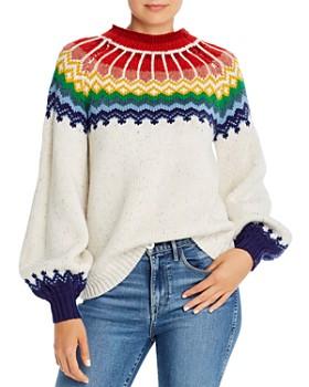Saylor - Rainbow Balloon-Sleeve Intarsia Sweater