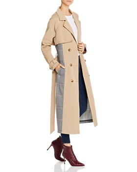 Glamorous - Plaid-Panel Trench Coat - 100% Exclusive